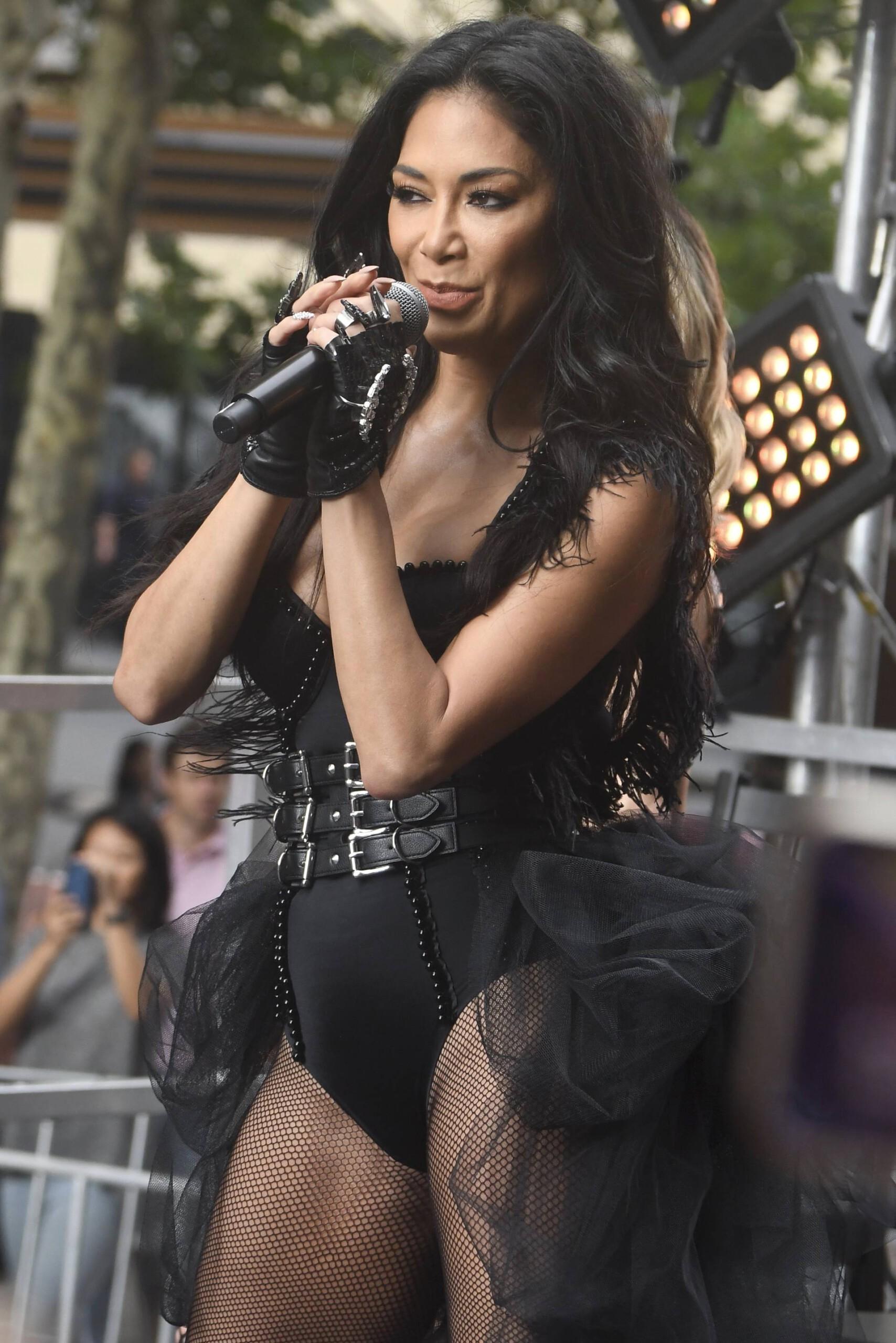 "Nicole Scherzinger - Sexy Boobs in Black COrset on ""Sunrise"" in Sydney   Hot Celebs Home"