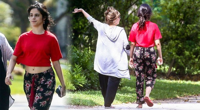 Camila Cabello – Beautiful in Red Crop Top Out in Coral Gables