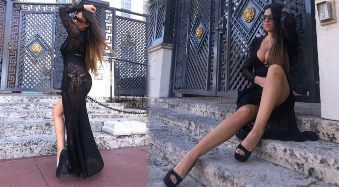 Claudia Romani – Sexy Legs and Big Boobs in Beautiful Black Dress
