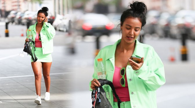 Maya Jama – Sexy Legs in Mini Skirt Out in London