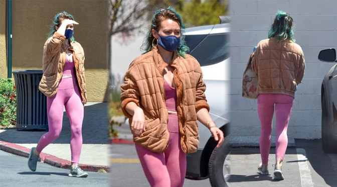Hilary Duff – Sexy in Leggings and Low-Cut Top at Trader Joe's in Studio City