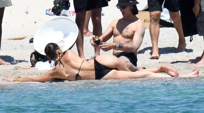 Bella Hadid – Sexy Ass in Bikini on the Photoshoot Set in Corsica