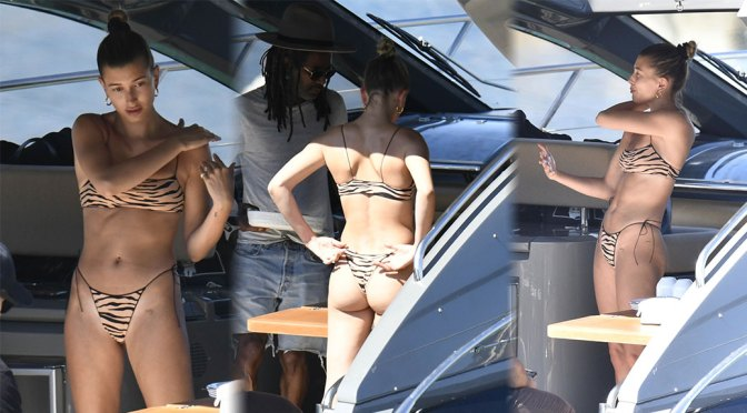 Hailey Baldwin Sexy Ass In Small Bikini