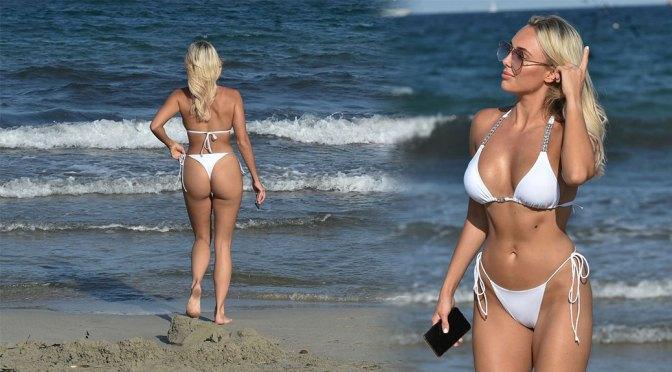 Amber Turner – Beautiful Body in White Bikini at a Beach in Spain