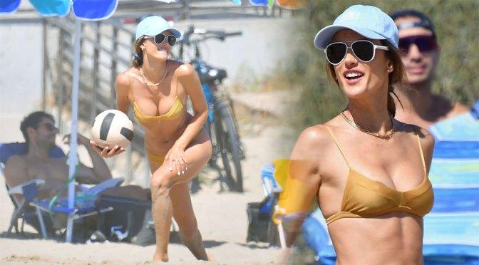 Alessandra Ambrosio – Sexy Boobs in Bikini at the Beach in Malibu