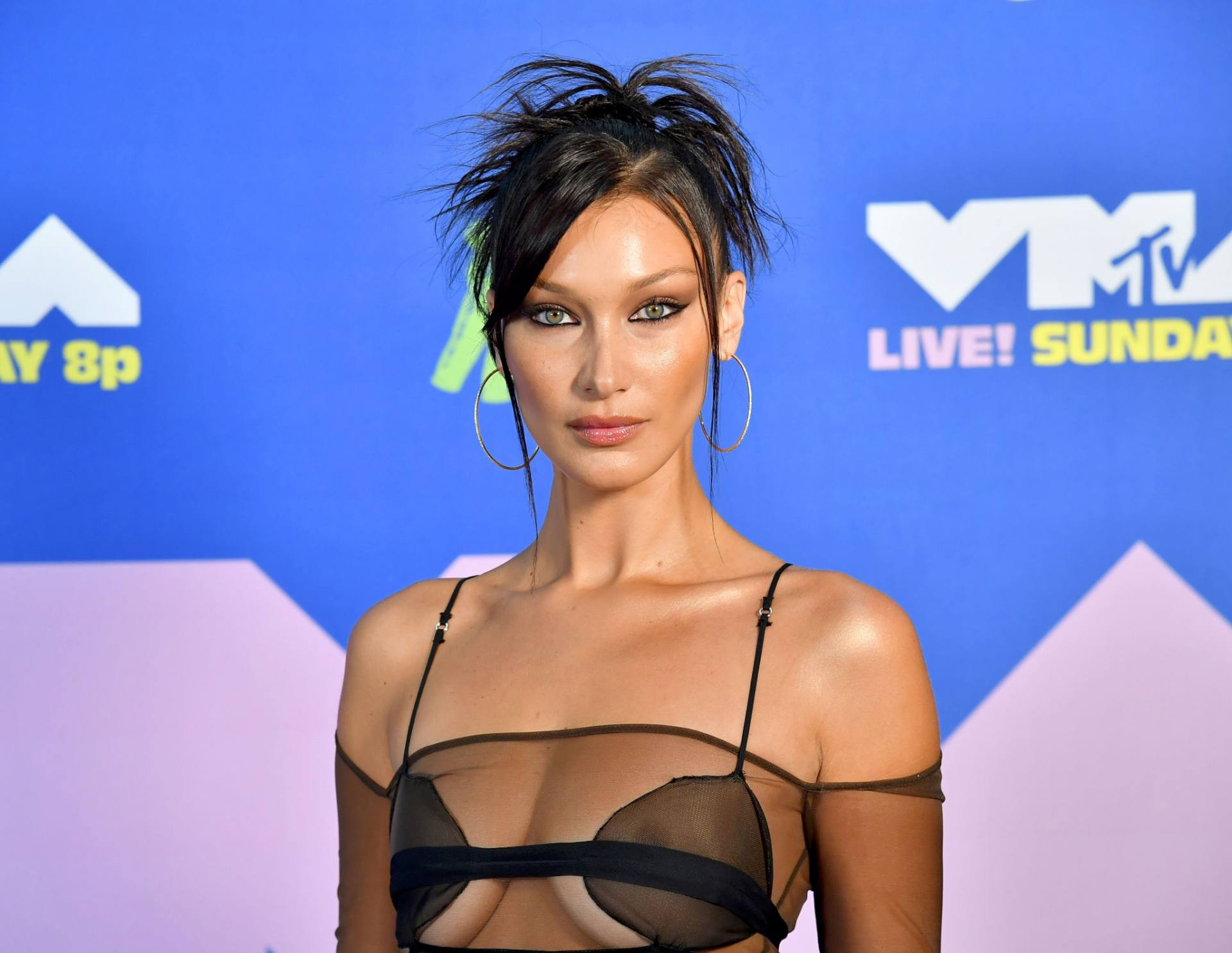 Bella Hadid Boobs In Sheer Top