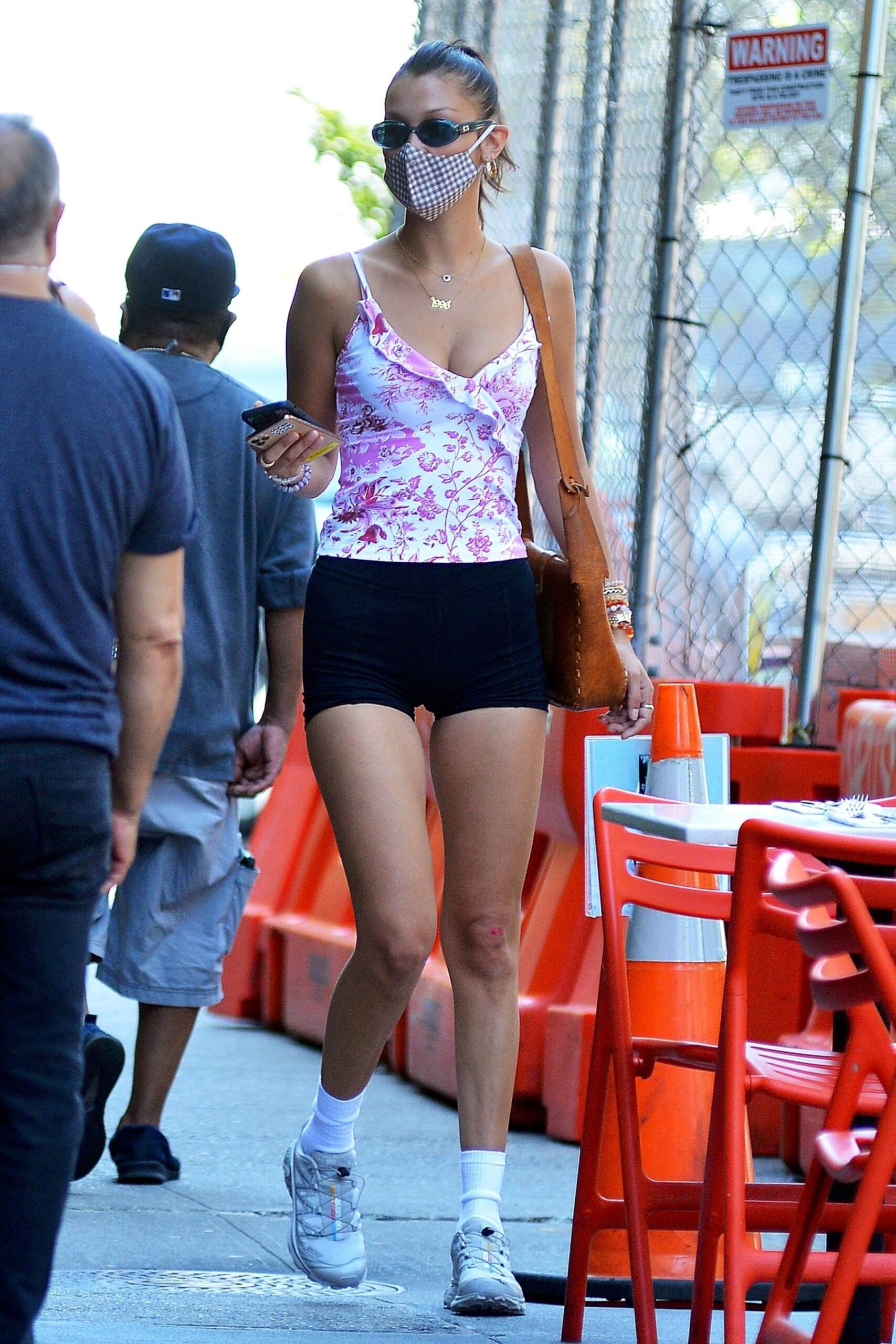 Bella Hadid Sexy Legs In Shorts