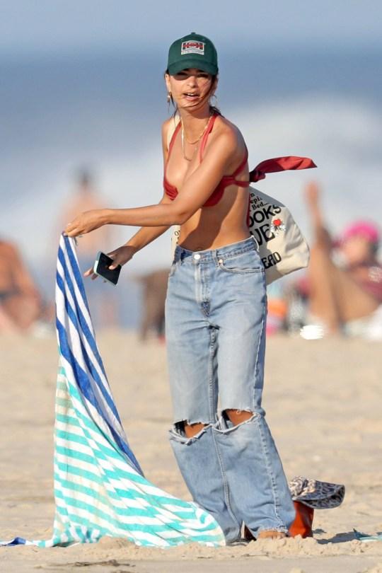 Emily Ratajkowski Sexy In Red Bikini