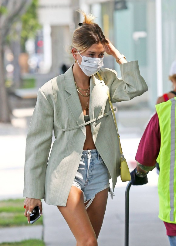 Hailey Bieber Sexy In Denim Shorts