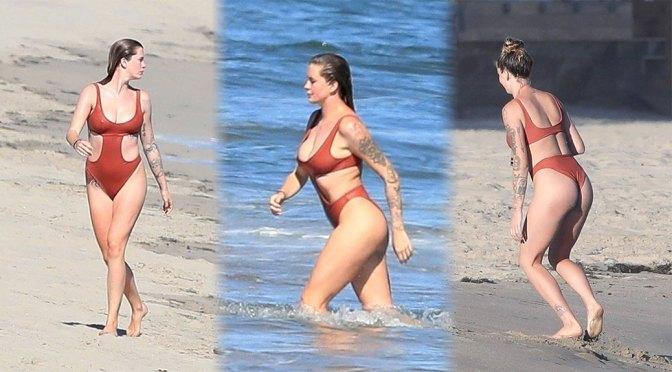Ireland Baldwin – Sexy Big Boobs in a Red Swimsuit in Malibu