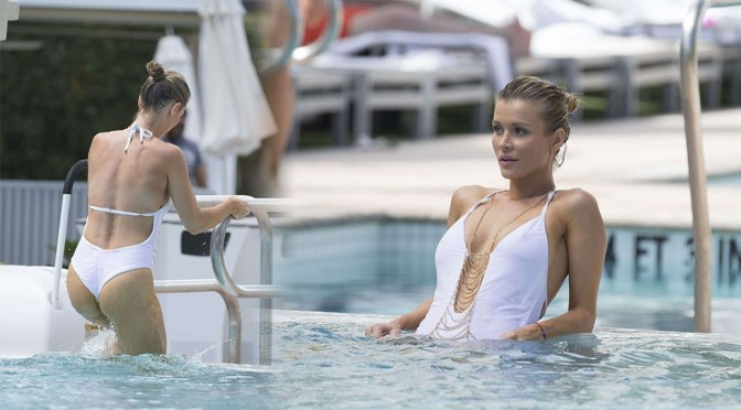 Joanna Krupa – Beautiful Body in Sexy White Swimsuit at a Pool in Miami