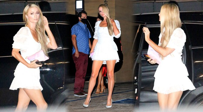 Paris Hilton – Sexy Legs in Short Dress at Nobu in Malibu