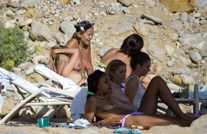 Rita Ora Topless On A Beach