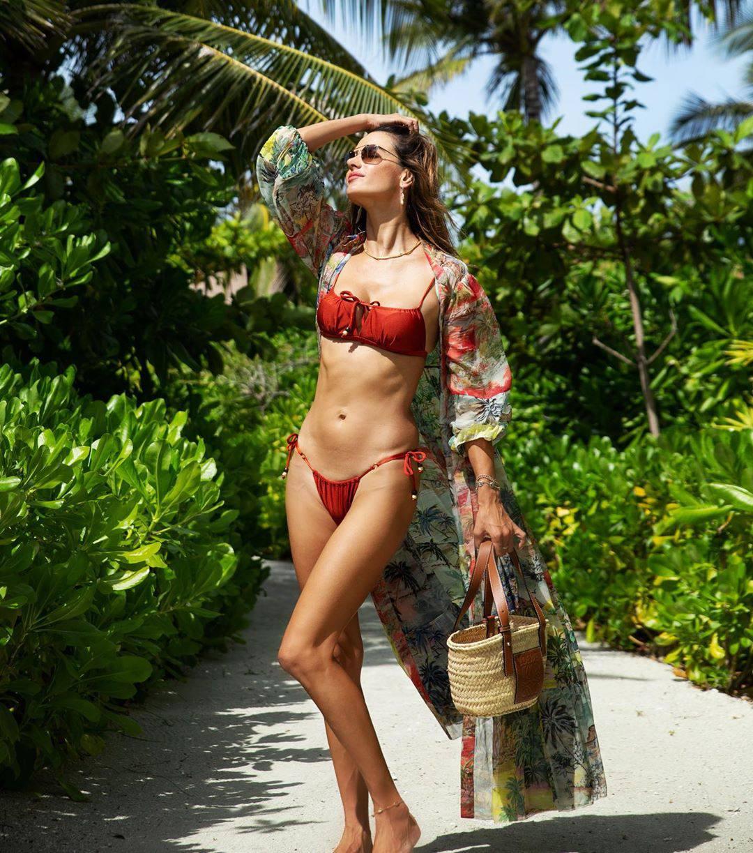 Alessandra Ambrosio Hot Red Bikini