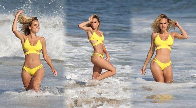 Dasha Inyutkinam – Beautiful Body in Sexy Yellow BIkini at 138 Water Photoshoot in Malibu