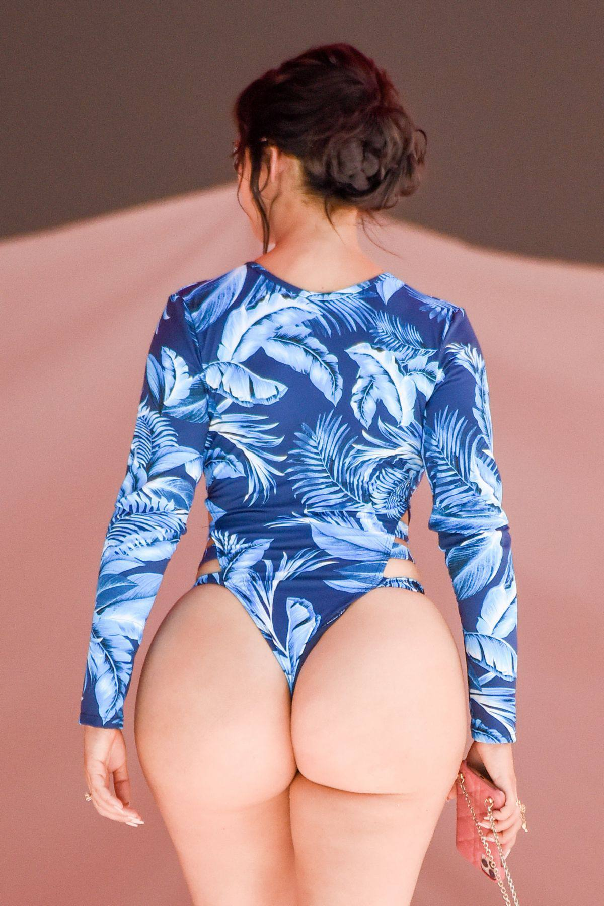 Demi Rose Mawby - Huge Sexy Ass in a Thong Swimsuit At a Pool in Spain