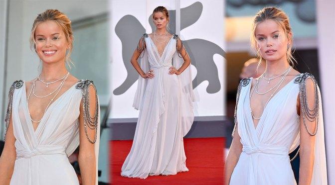 Frida Aasen Braless In Sheer Dress