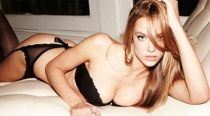 Hannah Ferguson Sexy Boobs In Black Underwear