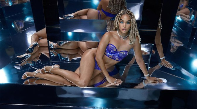 Jasmine Sanders – Hot Body in Sexy Blue Lingerie for Savage X Fenty Photoshoot