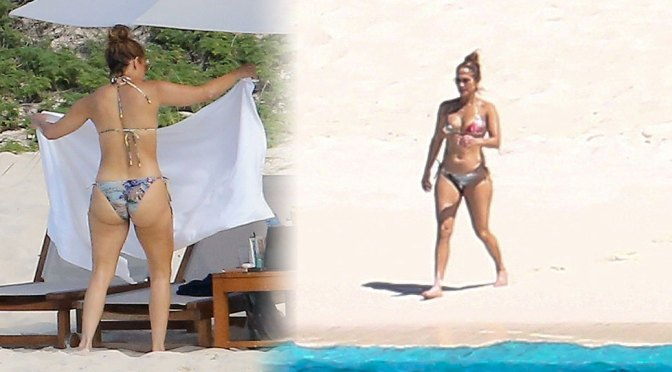 Jennifer Lopez – Hot Big Ass in Bikini at the Beach in Turks and Caicos