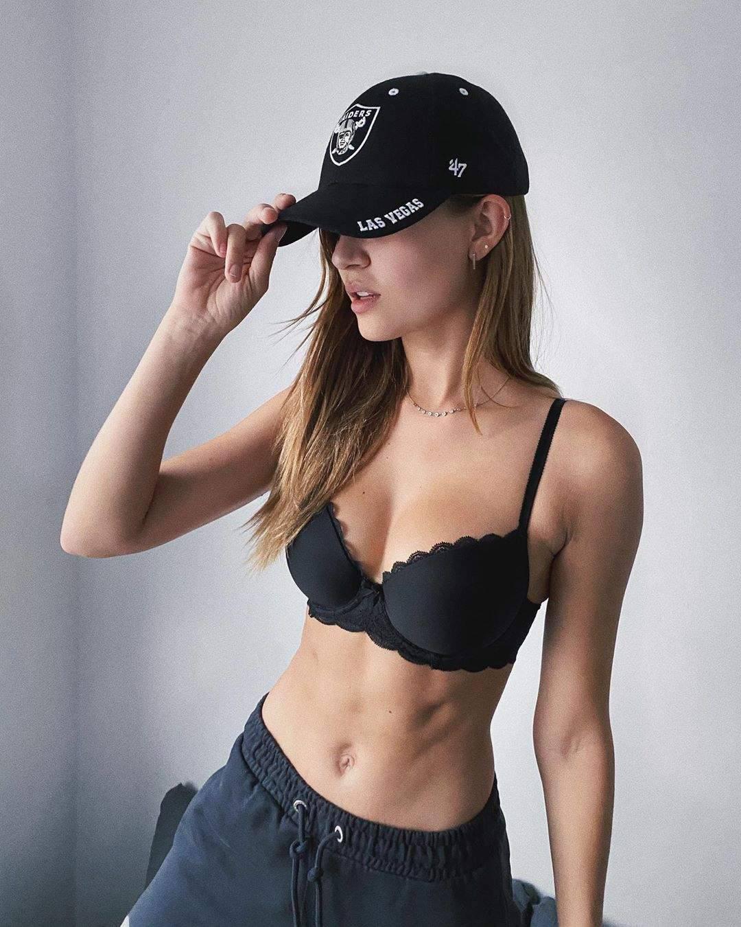 Jospephine Skriver In Black Bra