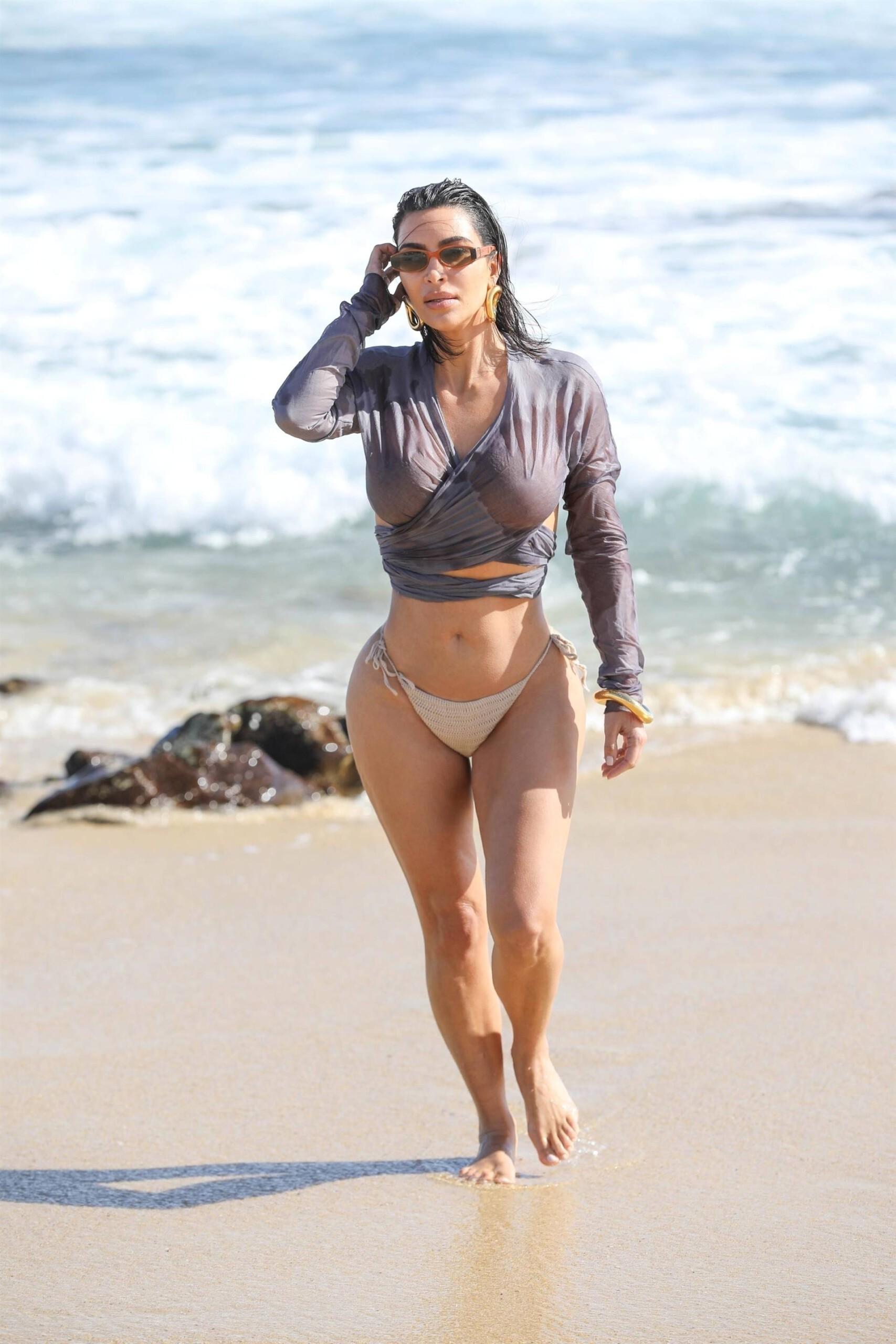 Kim Kardashian - Beautiful Body in Sexy Bikini on the Beach in Malibu