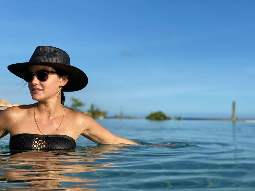 Lucy Hale In Black Bikini