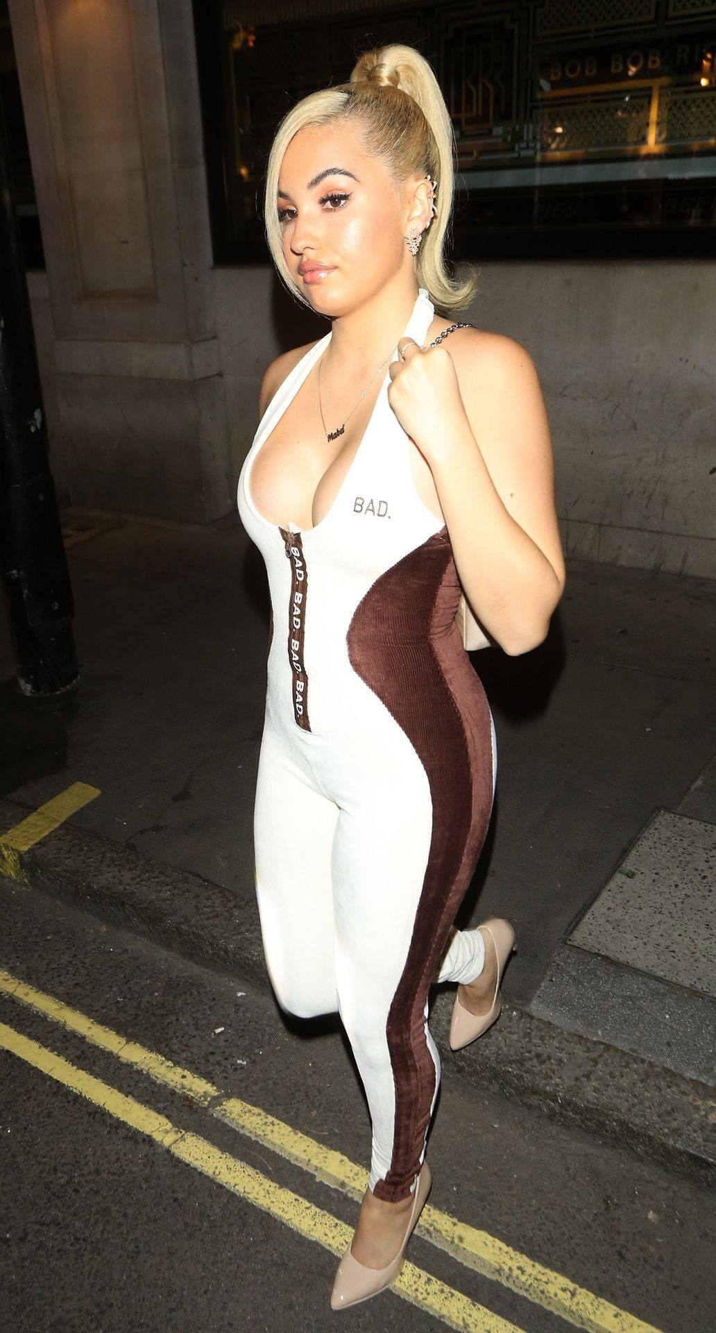 Mabel McVey - Beautiful Boobs in Sexy Cleavage Out in London