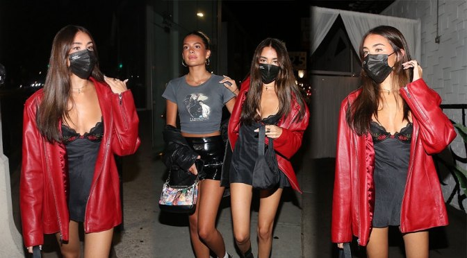 Madison Beer – Sexy Cleavage in Small Black Dress Out in West Hollywood