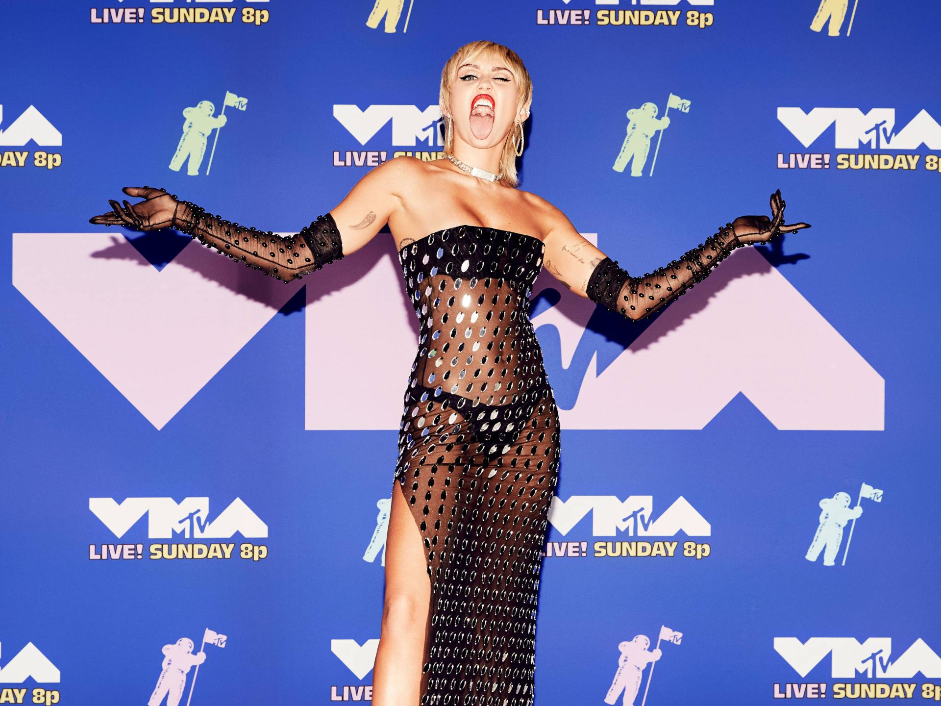 Miley Cyrus In See Through Dress