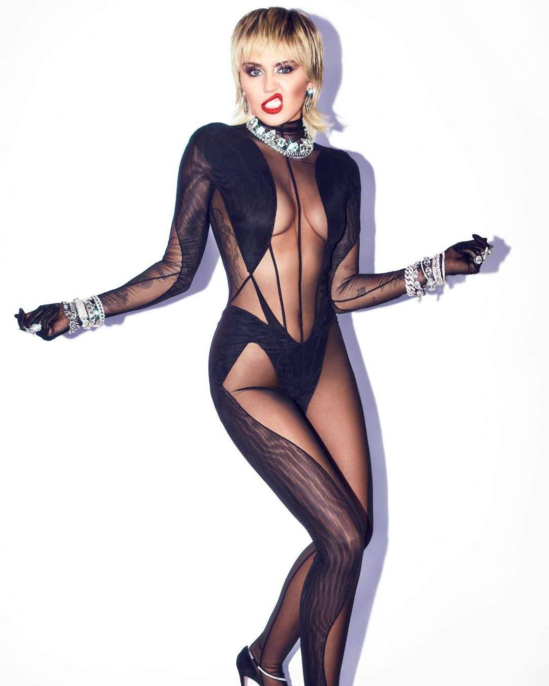 Miley Cyrus In Sexy Bodystocking