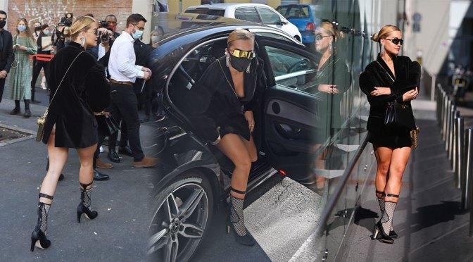 Rita Ora – Sexy Legs and Braless Boobs at the Fendi's fashion show in Milan