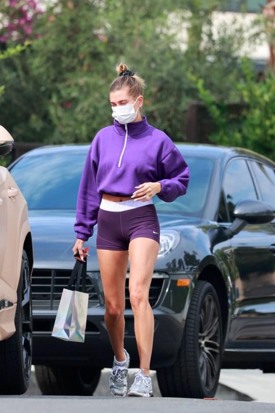 Hailey Bieber Sexy Tiny Shorts