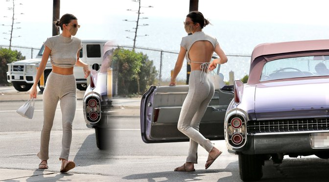 Kendall Jenner – Perfect Ass and Braless Breasts at a Gas Station in Malibu