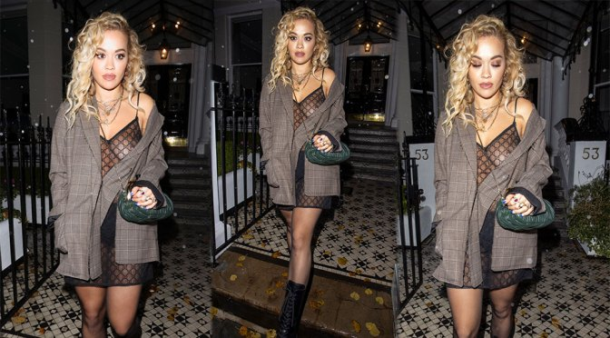 Rita Ora – Sexy Boobs and Nipple in a See-Through Dress Out in London