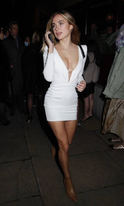 Kimberley Garner Sexy White Dress