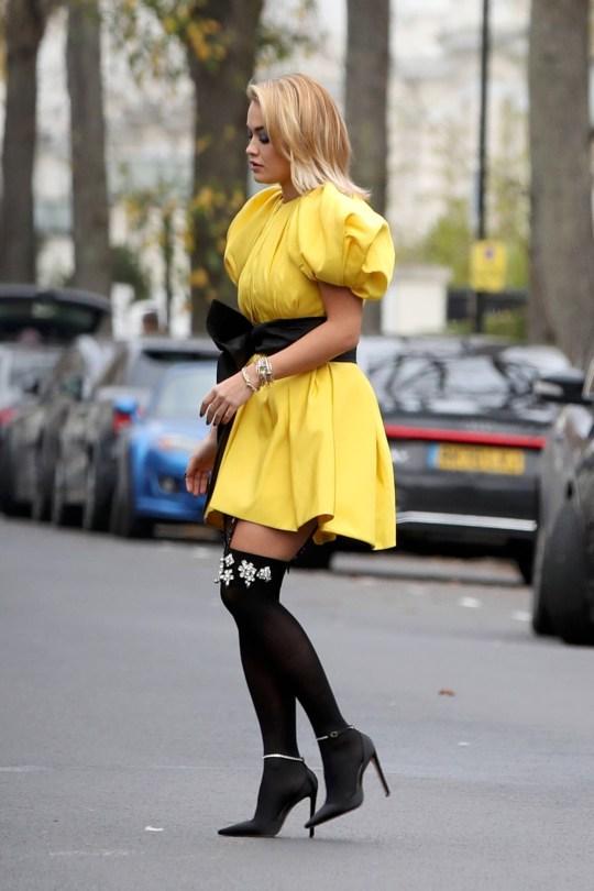 Rita Ora Beautiful Yellow Dress