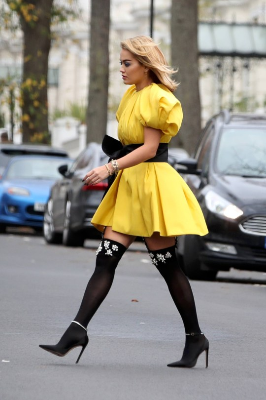 Rita Ora Beautiful Yellow Dress