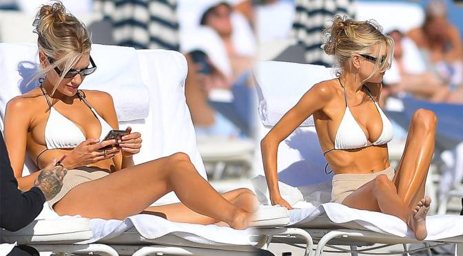 Charlotte McKinney – Fantastic Big Breasts in a Tiny Black BIkini in Miami