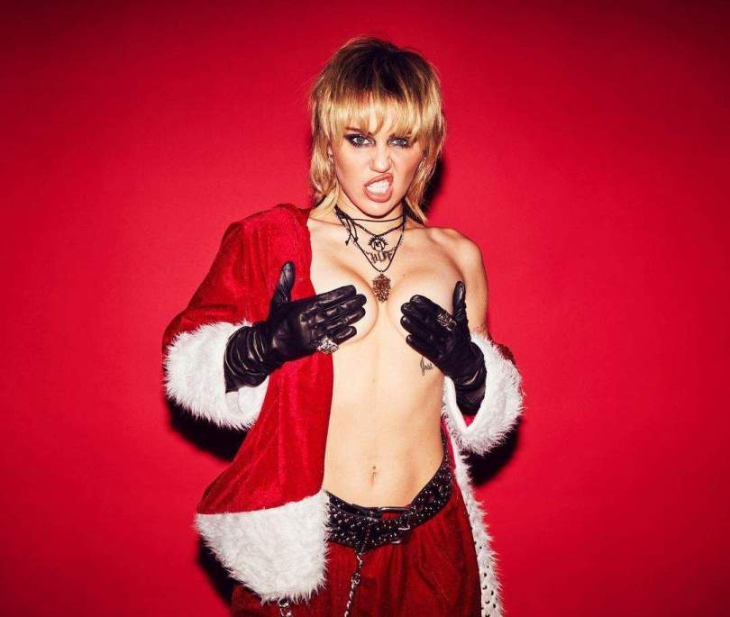 Miley Cyrus Topless Santa