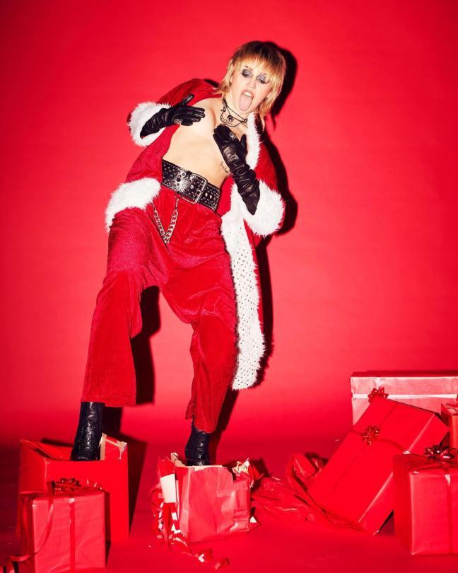 Miley Cyrus Topless Santa