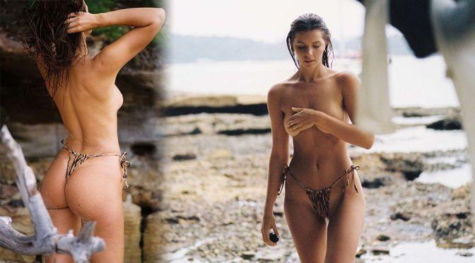 Kristina Mendoca Wearing Only Thong Bikini Botom