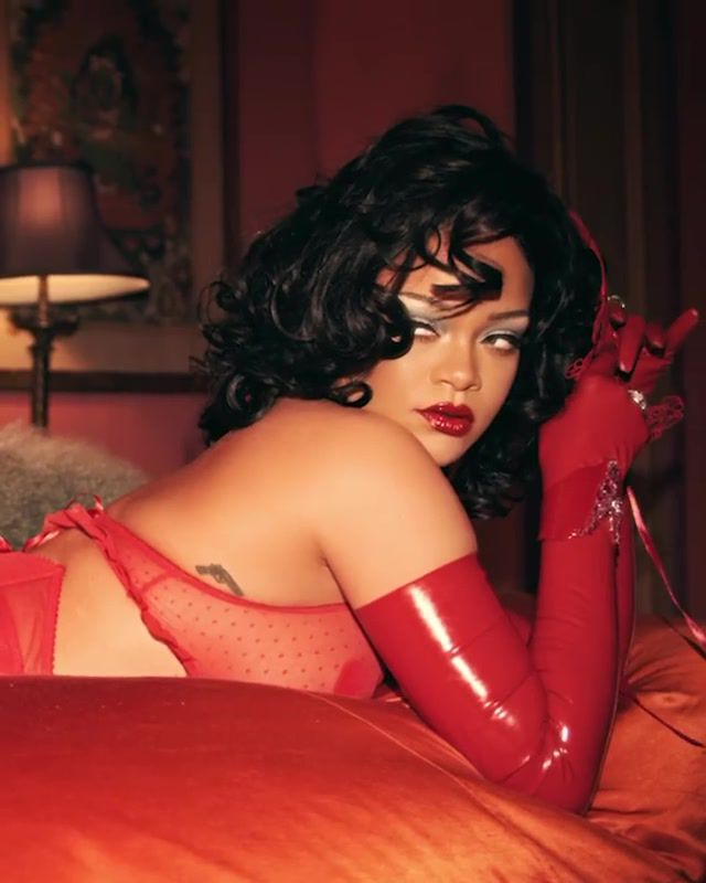 Rihanna Sexy Red Lingerie