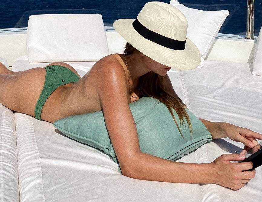 Josephine Skriver Topless Sunbathing
