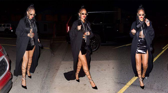 Rihanna – Beautiful Legs in a Tiny Skirt at Giorgio Baldi in Los Angeles