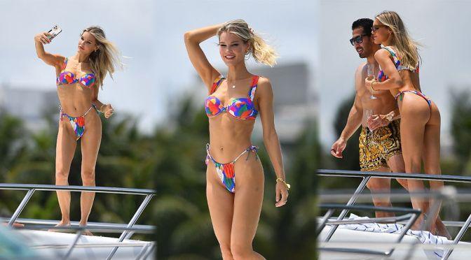 Joy Corrigan – Gorgeous Ass in a Thong BIkini on a Yacht in Miami Beach