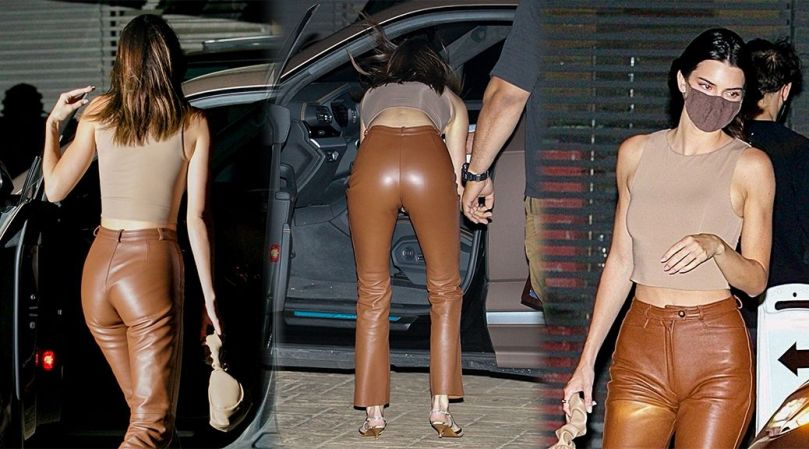 Kendall Jenner Sexy Ass In Tight Leather Pants