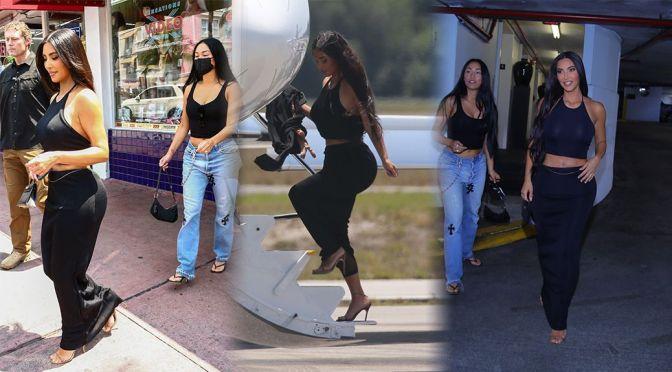 Kim Kardashian – Sexy Curves in a Tight Black Dress Out in Miami Beach