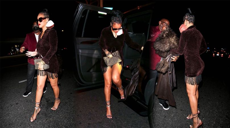 Rihanna Fantastic Legs And Ass In Short Dress