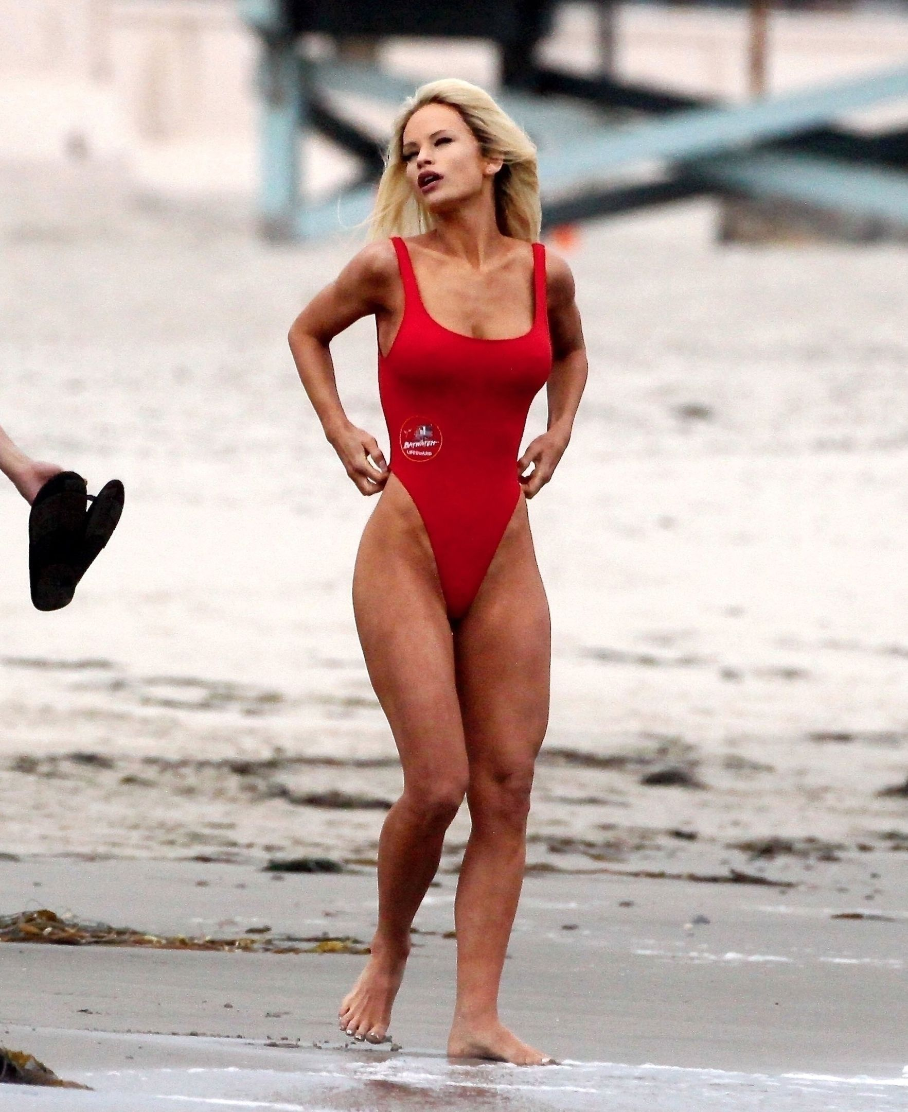 Lily James In Red Swimsuit